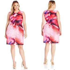 Julia Jordan Floral Pink Purple Scuba Shift Dress